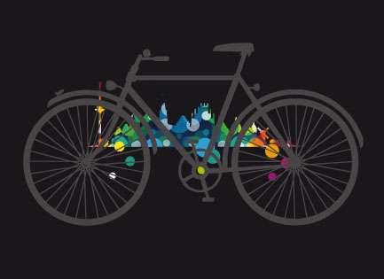 Klappkarte Skyline mit Fahrrad schwarz JHD