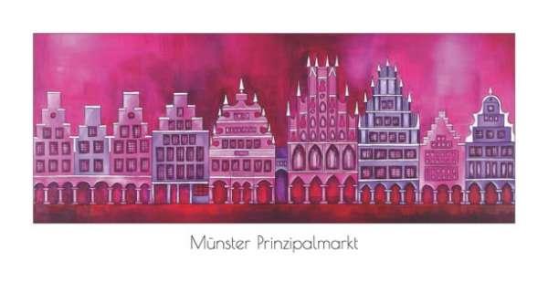Klappkarte Prinzipalmarkt mit Rathaus rot-violett - Bockstette