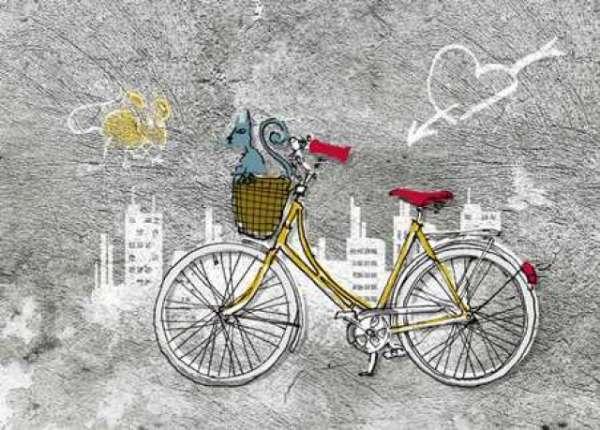 Postkarte Fahrrad mit Katze im Korb ProNa