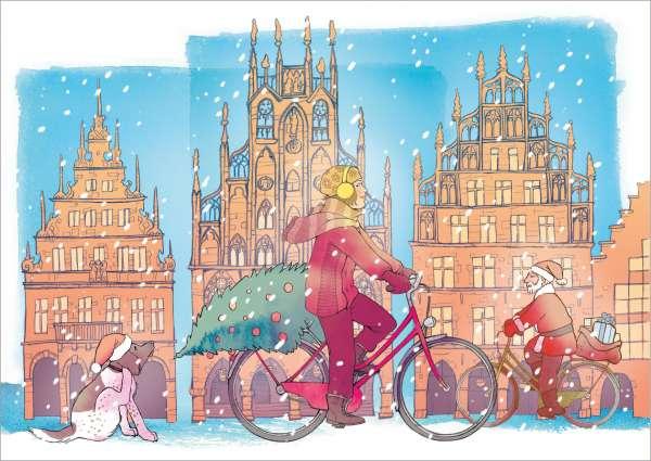 Postkarte Radfahrerin Weihnachtshund mmm