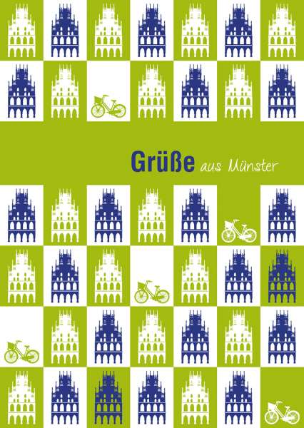 Postkarte mmm - Rathäuser auf grün