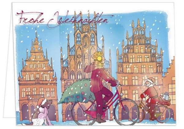 Klappkarte Radfahrerin Weihnachtshund mmm