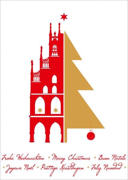 Postkarte Rathaus Baum mmm