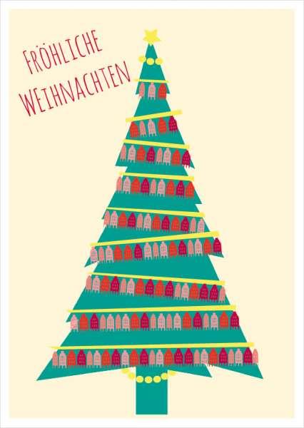 Postkarte Baum Giebelhäuserkette Weihnachten mmm