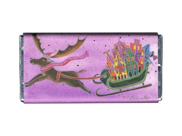 Weihnachts- Vollmilchschokolade Kiesewalter - Schlitten lila