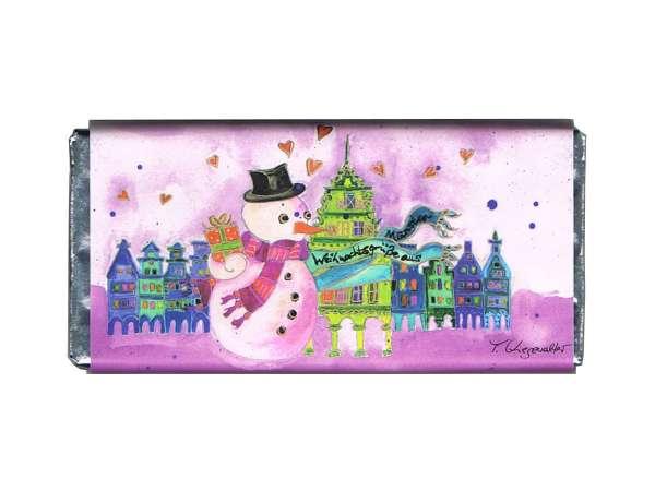 Weihnachts- Vollmilchschokolade Kiesewalter - Schneemann rosa