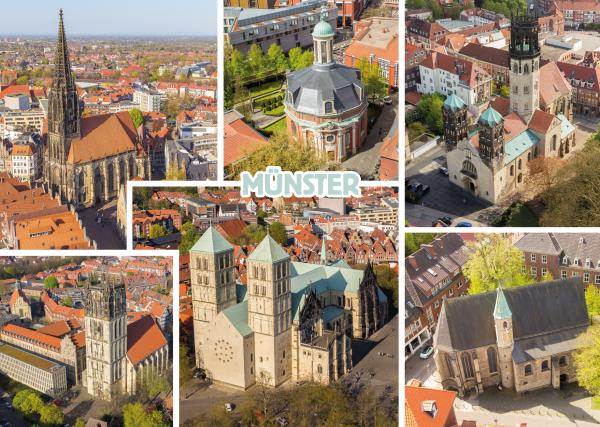 Postkarte Kirchen in Münster mmm