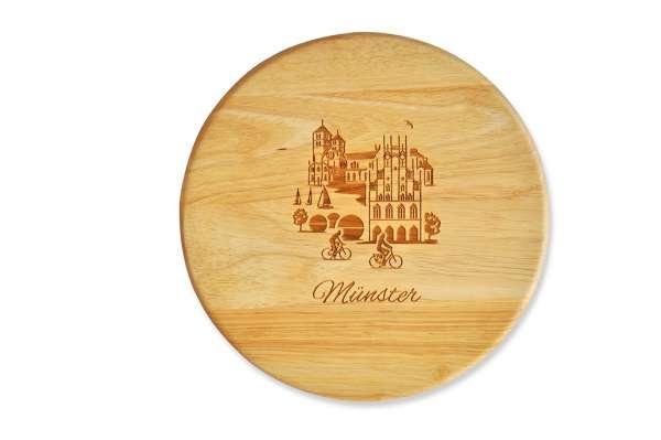Brotzeitbrett rund - Holz - Stadtblick Münster