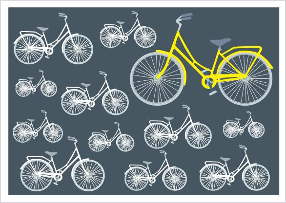 Postkarte - Fahrräder anthrazit mmm