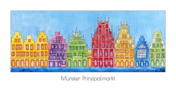 Klappkarte Prinzipalmarkt mit Rathaus blau - Bockstette