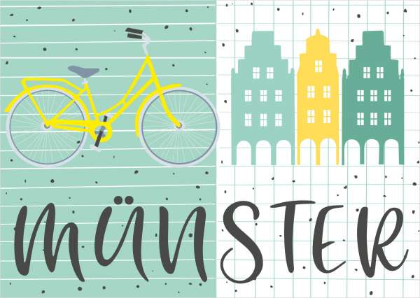Postkarte - Fahrrad und Giebel mmm