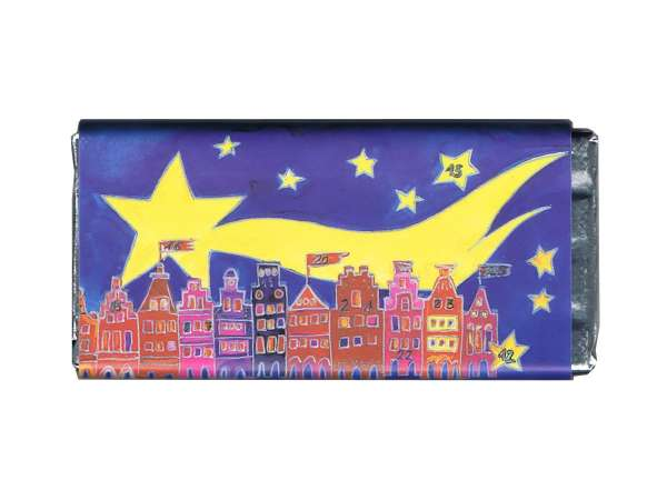 Weihnachts- Vollmilchschokolade Kiesewalter - Stern blau