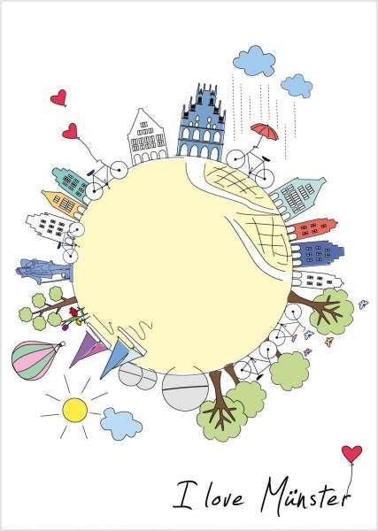 Postkarte - I love Münster_Kugel mmm