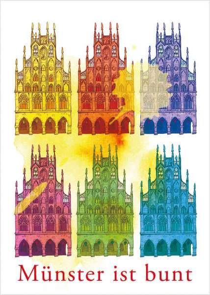 Postkarte - Münster ist bunt mmm