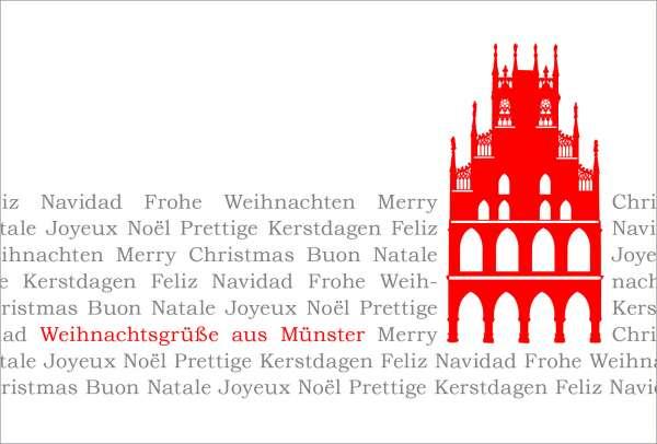 Postkarte Rathaus auf Text mmm