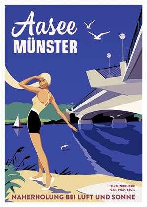 Poster Wentrup - Torminbrücke über Münsters Aasee