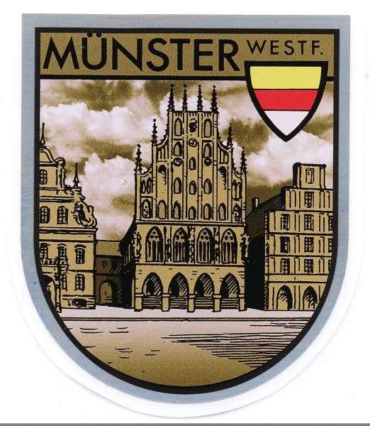 Aufkleber sepia - Münster Wappen, Rathaus