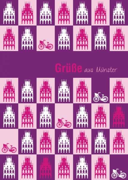 Postkarte mmm - Rathäuser auf lila