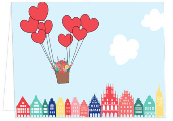 Klappkarte Herzballons mit Giebelhäusern mmm