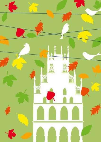 Postkarte - Rathaus Herbstlaub mmm