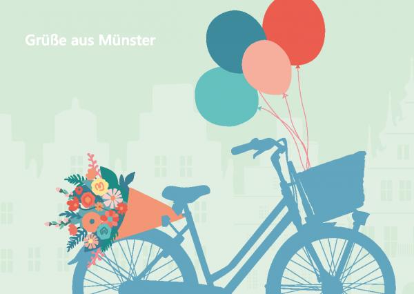 Postkarte - Fahrrad_Grüße_Blumen mmm