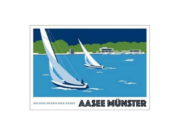 Poster Wentrup - Segler auf dem Aasee - quer