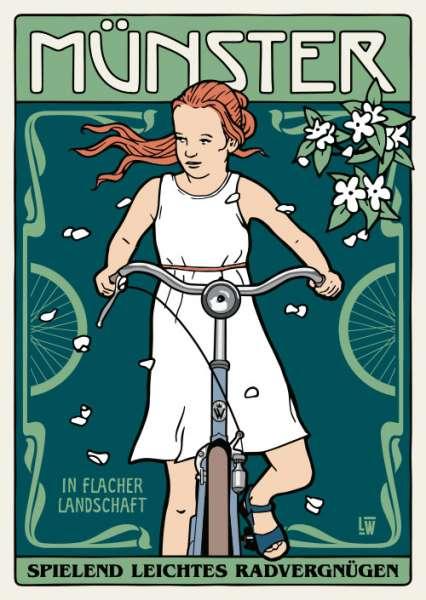 Postkarte Wentrup - Jugendstil Mädchen auf dem Fahrrad