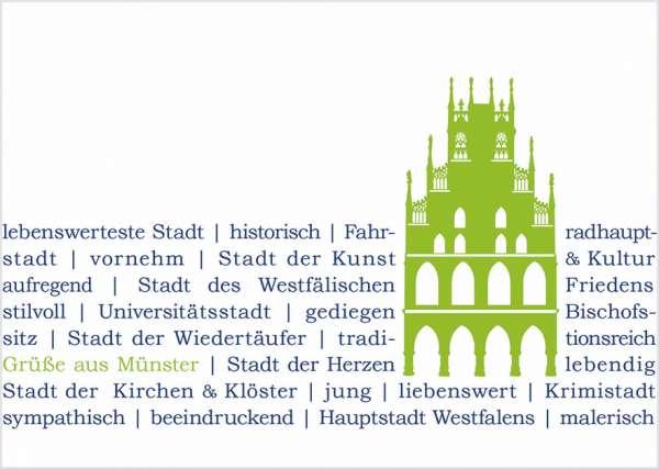 Postkarte - Rathaus grün auf Text mmm