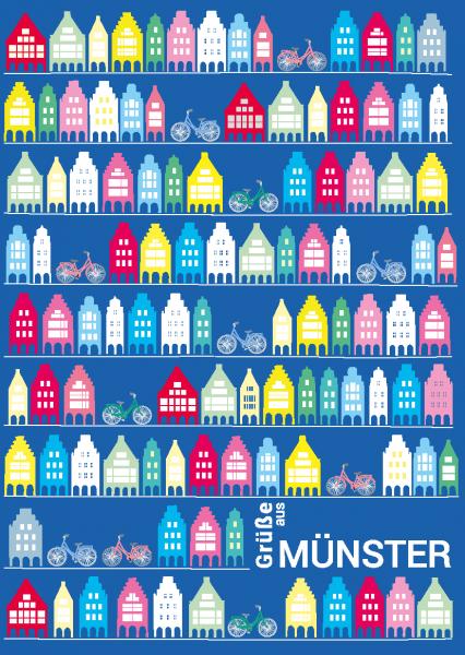 Postkarte - Giebelhäuser Muster mmm