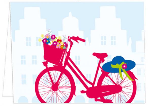 Klappkarte Hut, Fahrrad und Giebelhäuser mmm
