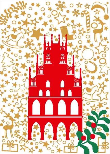 Postkarte Rathaus auf Weihnachtsmuster mmm