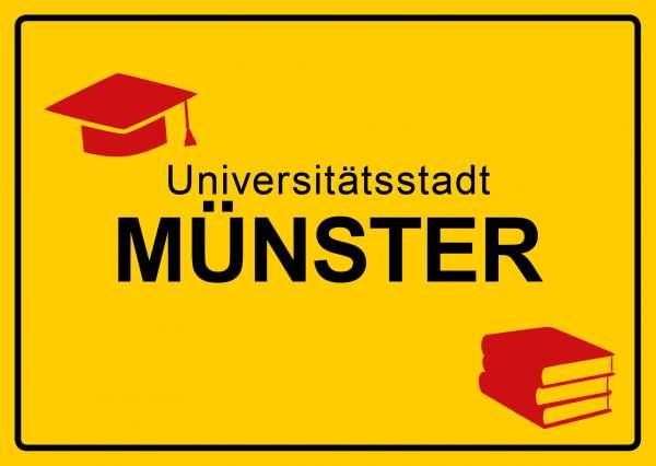 Postkarte - Münster Ortsschild Universität mmm
