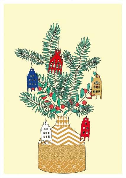 Postkarte Vase mit Giebelhäusern Weihnachten mmm