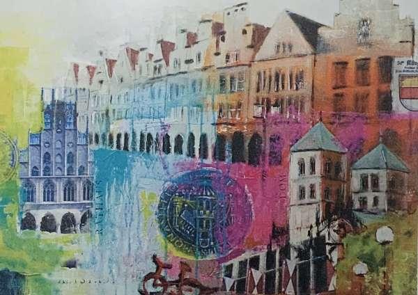 Wandbild Standbild Stempel pink - Ottenjann