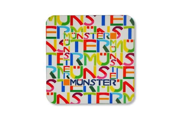 Untersetzer - Typo Münster weiß/bunt