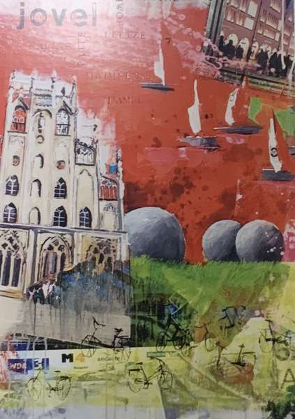 Postkarte groß Segelboote rot Ottenjann