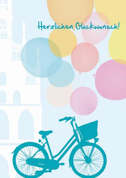 Postkarte - Fahrrad Herzlichen Glückwunsch mmm
