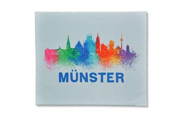 Brillenputztuch - Münster Skyline bunt