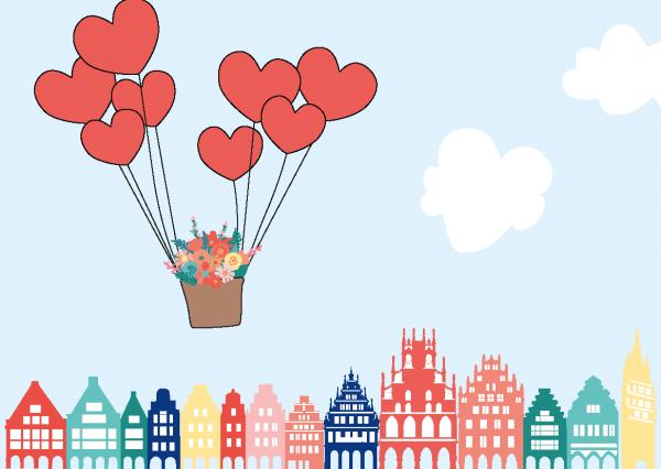 Postkarte - Giebelhäuser Herzballons mmm