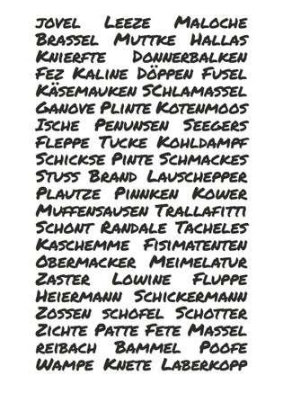 Postkarte Masematte Wörter - Bockstette