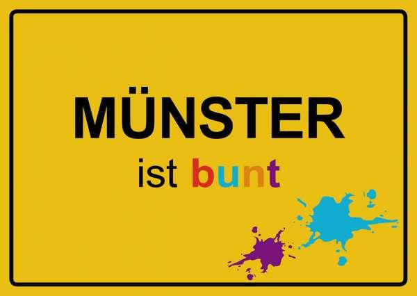 Postkarte mmm - Ortsschild Münster ist bunt