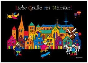 Postkarte JHD - MuKKi Münster bei Nacht