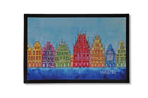 Fußmatte Bockstette- Münster Giebelhäuser blau