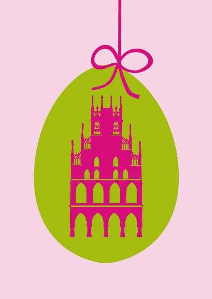 Postkarte mmm - Rathaus auf grünem Ei