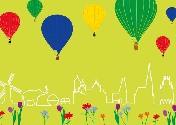 Postkarte - Skyline Ballons mmm