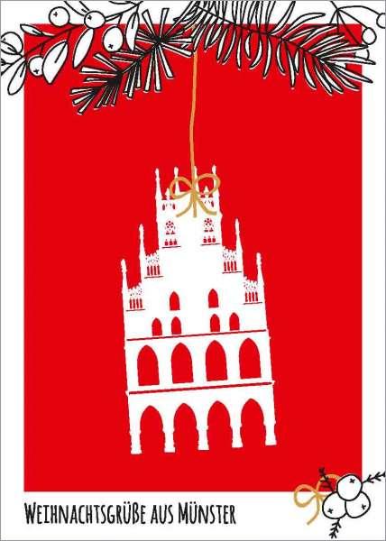 Postkarte Rathaus auf Rot Zweige mmm