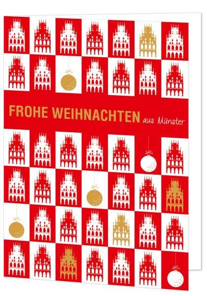 Klappkarte Rathaus gekachelt rot - Frohe Weihnachten mmm