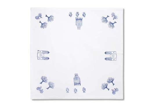 Deckchen - Blaudruck 40 x 40 mit Hohlsaum