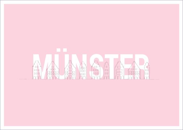 Postkarte - MÜNSTER Giebelhäuser rosa mmm