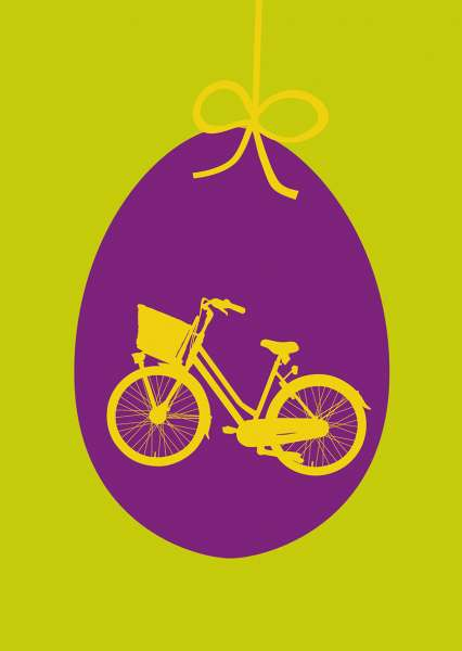 Postkarte mmm - Fahrrad auf lila Ei